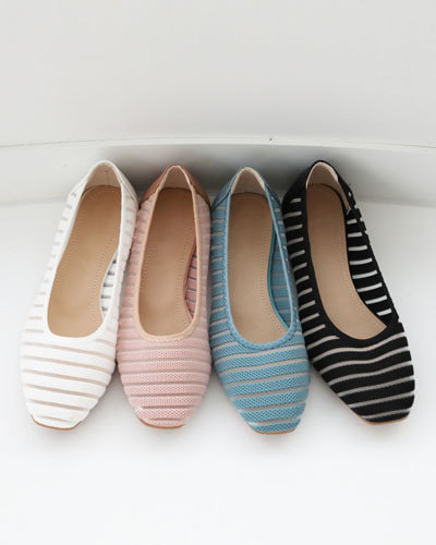 SH1090/See Through Striped Flat Shoes(230~250)